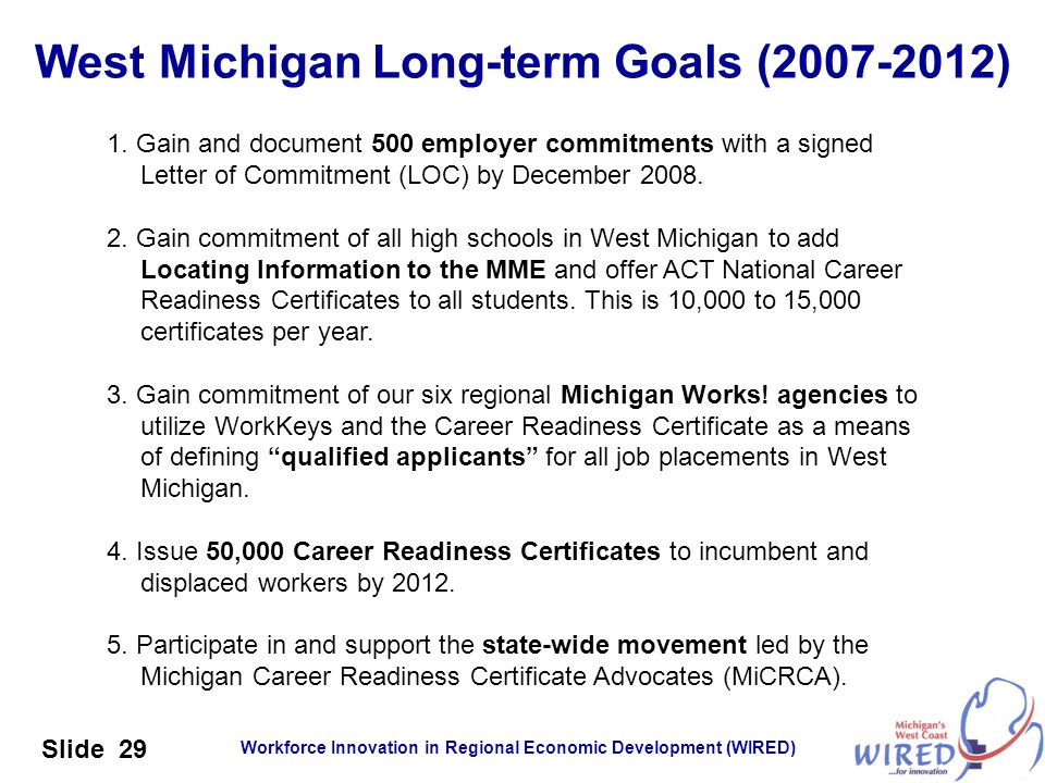 Workforce Innovation in Regional Economic Development (WIRED) Slide 29 West Michigan Long-term Goals (2007-2012) 1. Gain and document 500 employer com
