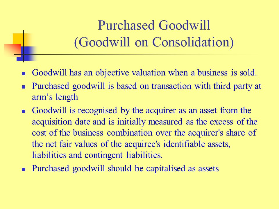Purchased Goodwill (Goodwill on Consolidation) Goodwill has an objective valuation when a business is sold.