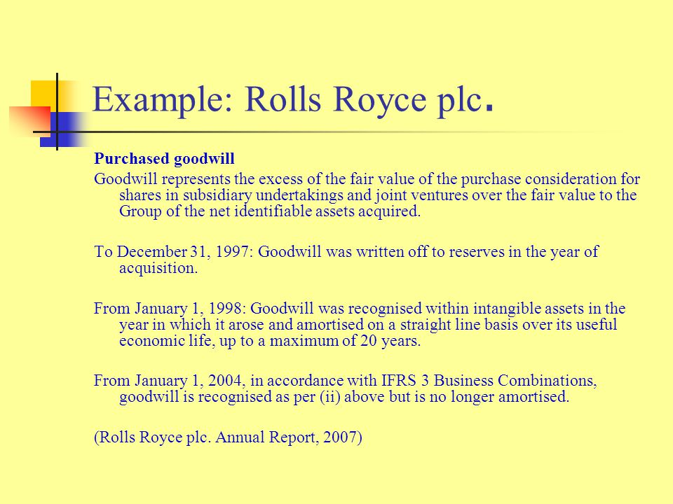 Purchased goodwill Goodwill represents the excess of the fair value of the purchase consideration for shares in subsidiary undertakings and joint ventures over the fair value to the Group of the net identifiable assets acquired.