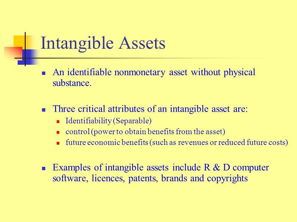 Intangible Assets An identifiable nonmonetary asset without physical substance.