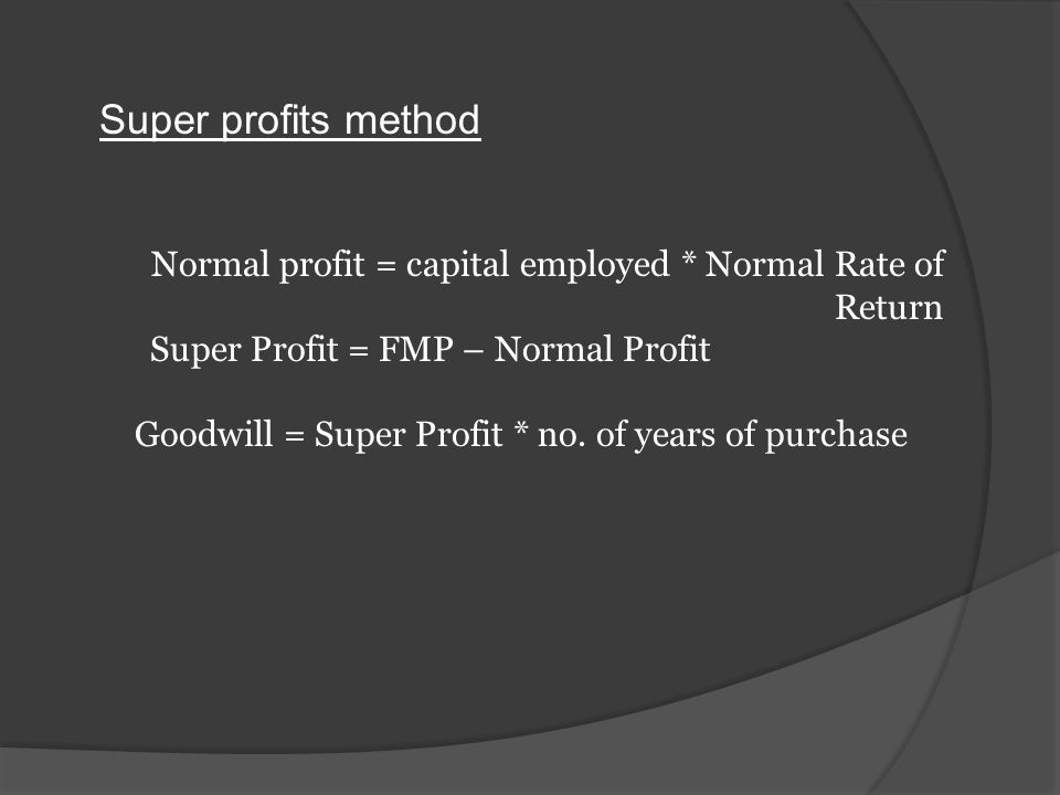 Super profits method : Super profit * no. of years of purchase Future Maintainable Profit Normal profit Capital Employed Normal Rate Of Return