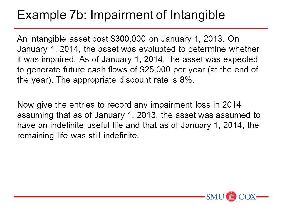 Example 7b: Impairment of Intangible An intangible asset cost $300,000 on January 1, 2013. On January 1, 2014, the asset was evaluated to determine wh