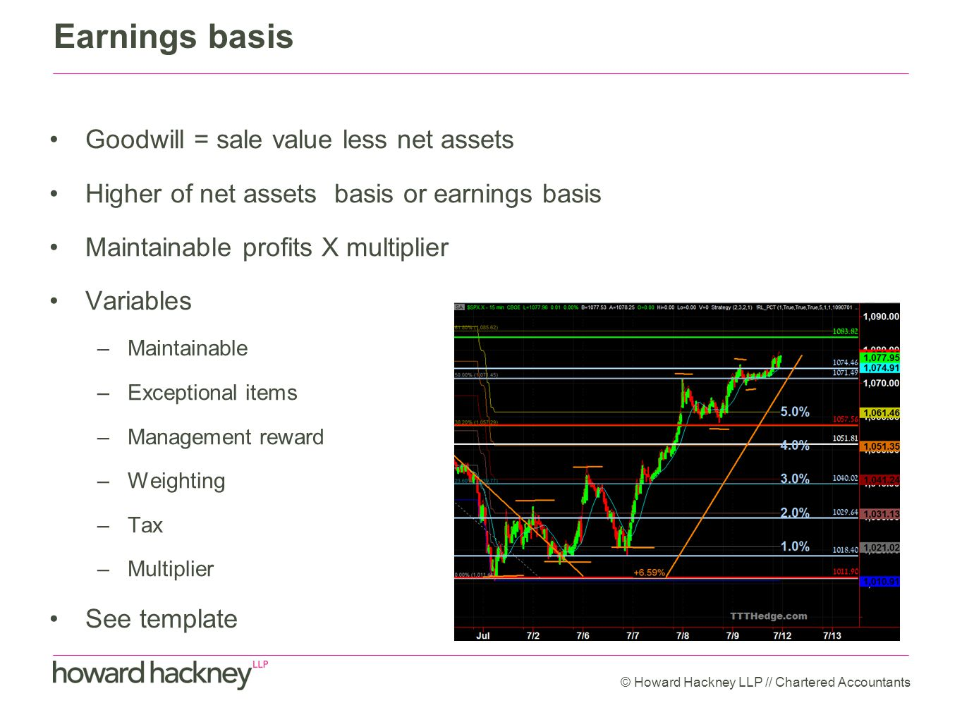 Earnings basis Goodwill = sale value less net assets Higher of net assets basis or earnings basis Maintainable profits X multiplier Variables –Maintainable –Exceptional items –Management reward –Weighting –Tax –Multiplier See template © Howard Hackney LLP // Chartered Accountants