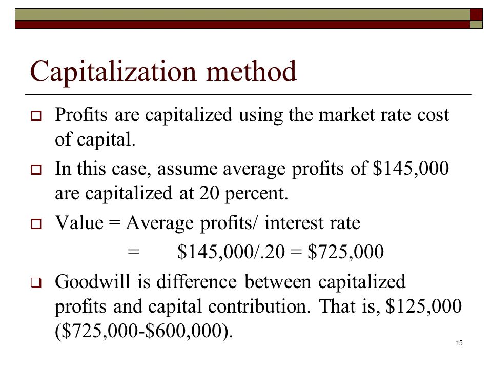 Capitalization method  Profits are capitalized using the market rate cost of capital.