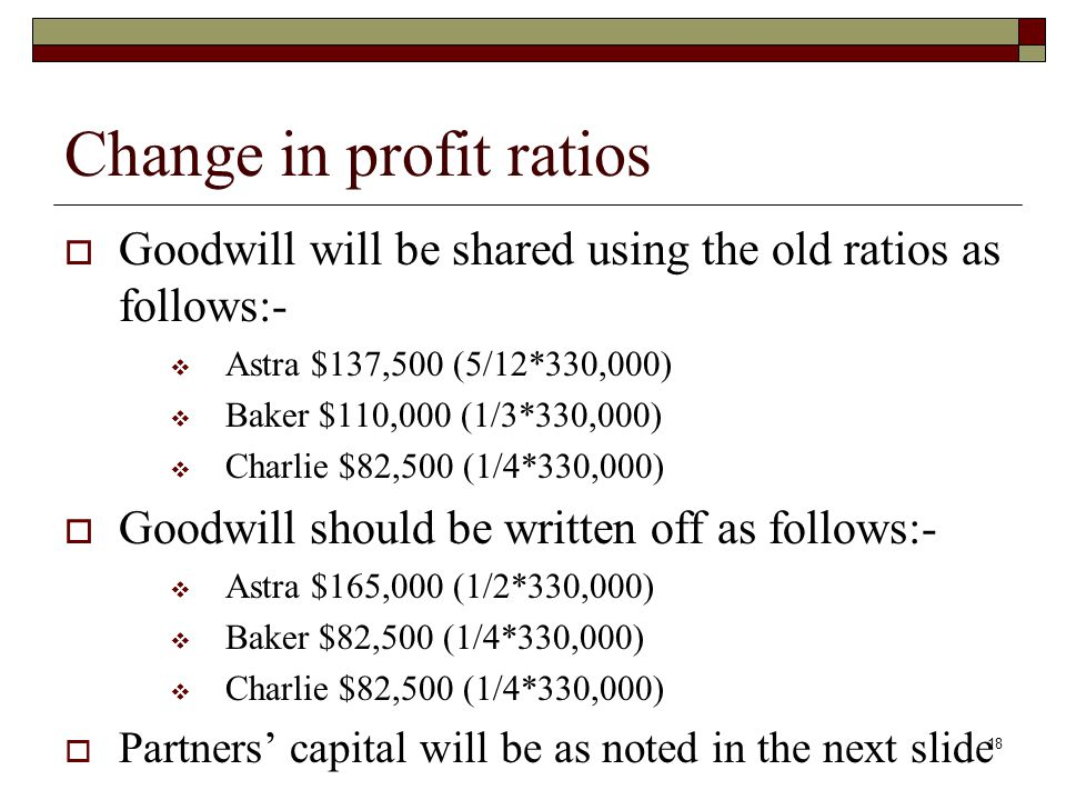 Change in profit ratios  Goodwill will be shared using the old ratios as follows:-  Astra $137,500 (5/12*330,000)  Baker $110,000 (1/3*330,000)  Charlie $82,500 (1/4*330,000)  Goodwill should be written off as follows:-  Astra $165,000 (1/2*330,000)  Baker $82,500 (1/4*330,000)  Charlie $82,500 (1/4*330,000)  Partners' capital will be as noted in the next slide 18