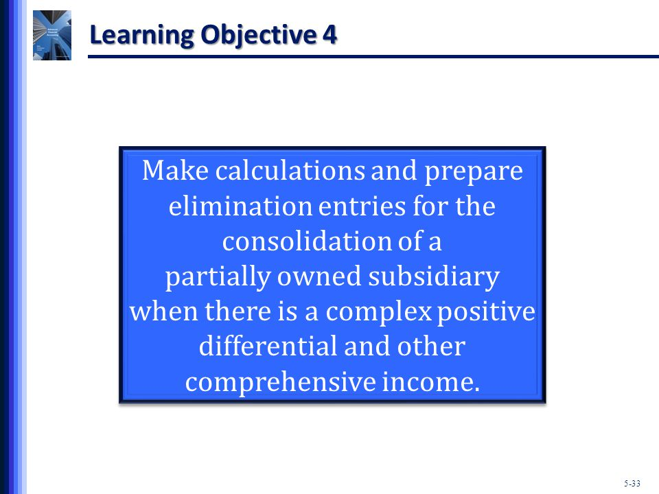 5-33 Learning Objective 4 Make calculations and prepare elimination entries for the consolidation of a partially owned subsidiary when there is a complex positive differential and other comprehensive income.