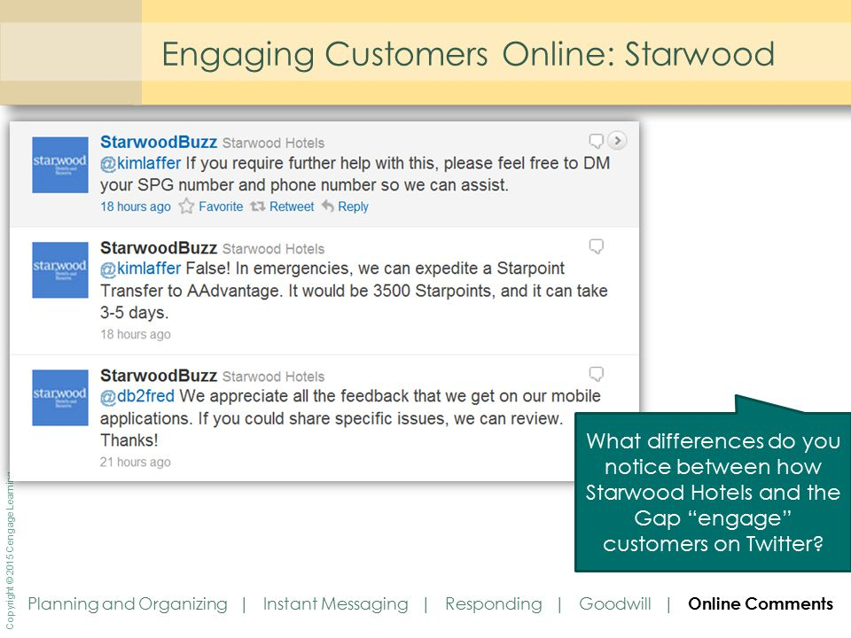 "Copyright © 2015 Cengage Learning Engaging Customers Online: Starwood What differences do you notice between how Starwood Hotels and the Gap ""engage"""