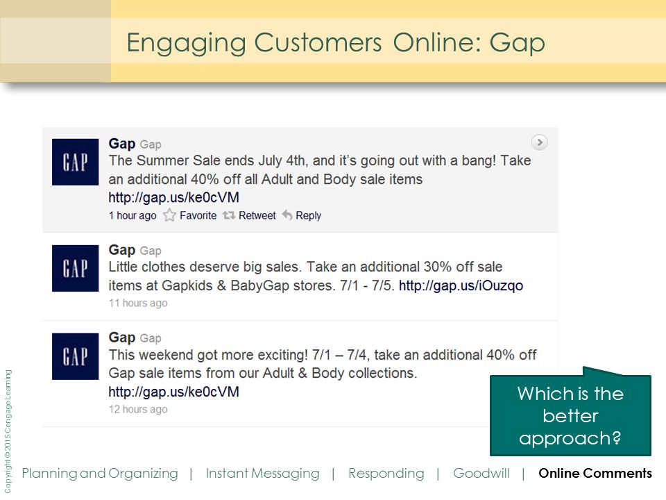 Copyright © 2015 Cengage Learning Engaging Customers Online: Gap Which is the better approach? Planning and Organizing | Instant Messaging | Respondin