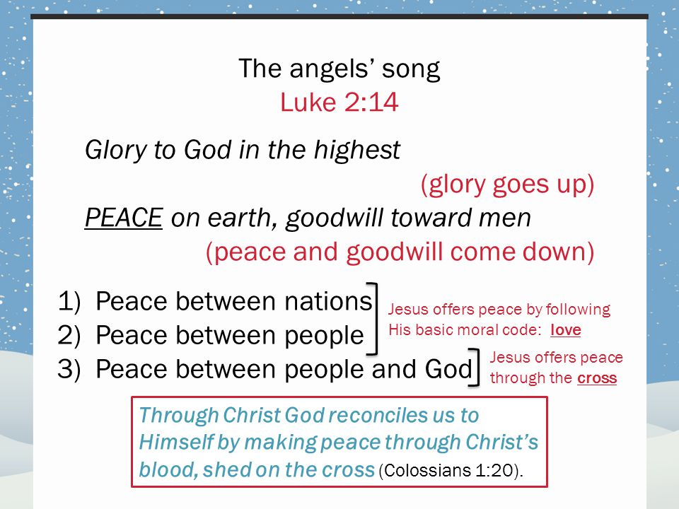 1)Peace between nations 2)Peace between people 3)Peace between people and God The angels' song Luke 2:14 Glory to God in the highest (glory goes up) PEACE on earth, goodwill toward men (peace and goodwill come down) Jesus offers peace by following His basic moral code: love Jesus offers peace through the cross Through Christ God reconciles us to Himself by making peace through Christ's blood, shed on the cross (Colossians 1:20).