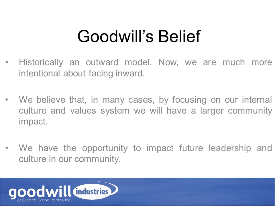 Employee Supports fits into Goodwill's Strategic Plan We will develop our employees as an integral part of our mission.