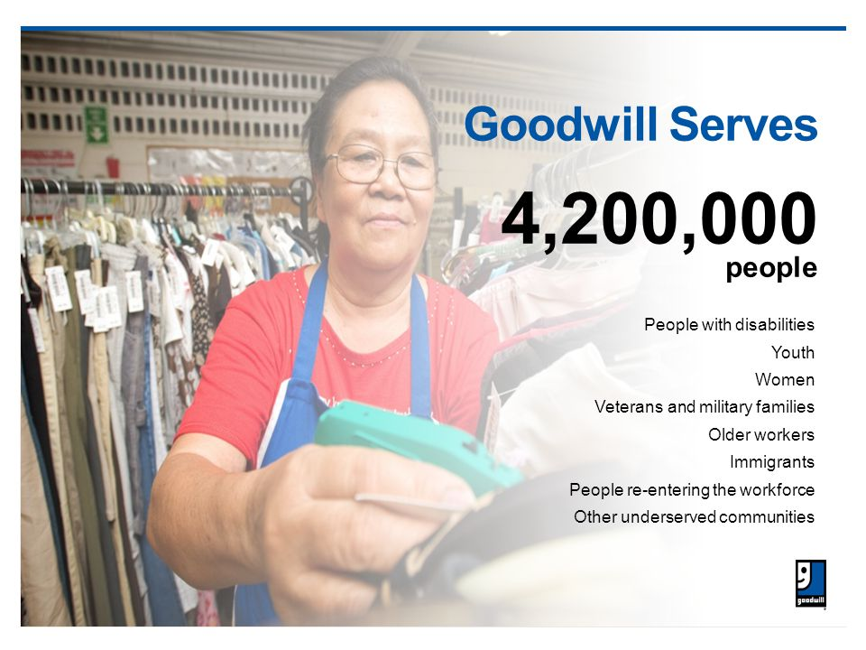 Goodwill Serves 4,200,000 people People with disabilities Youth Women Veterans and military families Older workers Immigrants People re-entering the workforce Other underserved communities