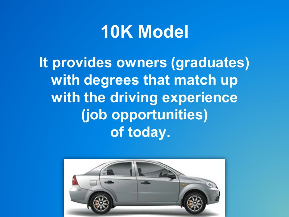 10K Model It provides owners (graduates) with degrees that match up with the driving experience (job opportunities) of today.