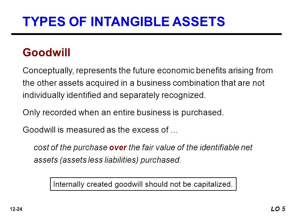 12-24 LO 5 Goodwill Conceptually, represents the future economic benefits arising from the other assets acquired in a business combination that are not individually identified and separately recognized.
