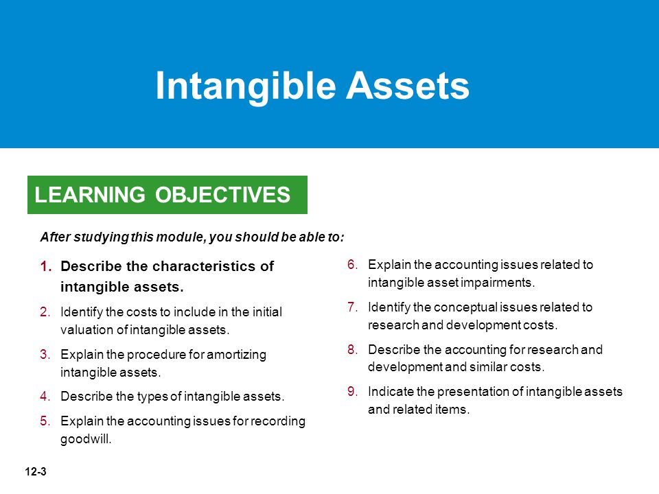 12-44 1.1.Describe the characteristics of intangible assets.