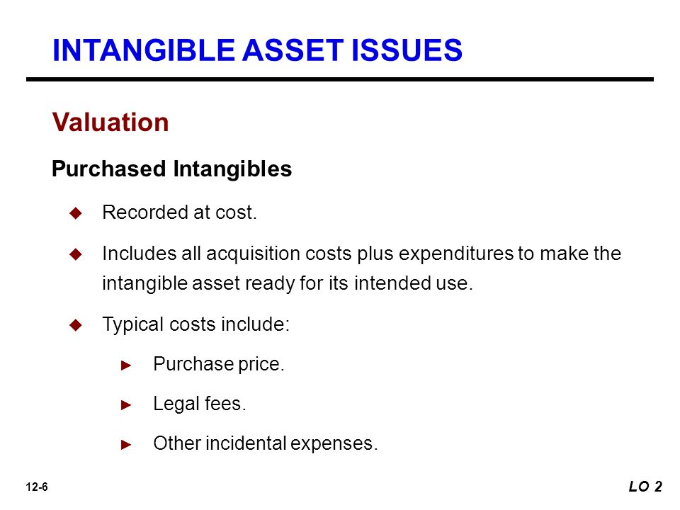 12-7 Valuation INTANGIBLE ASSET ISSUES Internally Created Intangibles  Companies expense all research phase costs and some development phase costs.