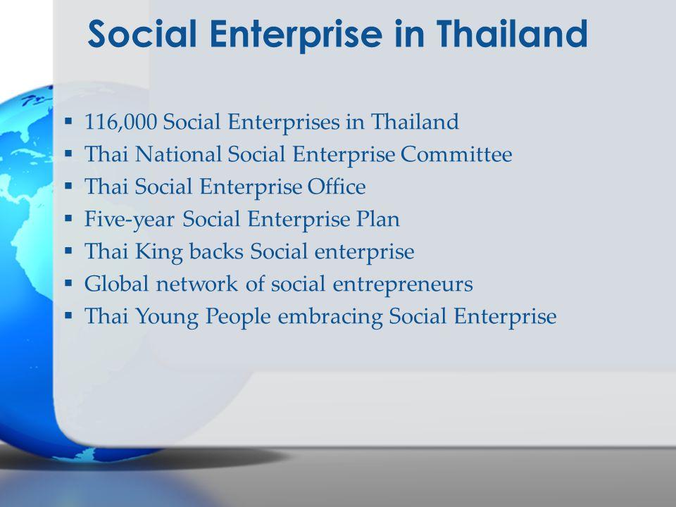 Social Enterprise in Thailand  116,000 Social Enterprises in Thailand  Thai National Social Enterprise Committee  Thai Social Enterprise Office  F