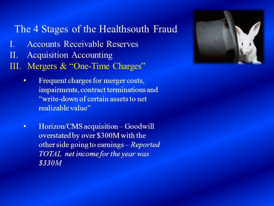 """The 4 Stages of the Healthsouth Fraud I. Accounts Receivable Reserves II. Acquisition Accounting III. Mergers & """"One-Time Charges"""" Frequent charges fo"""