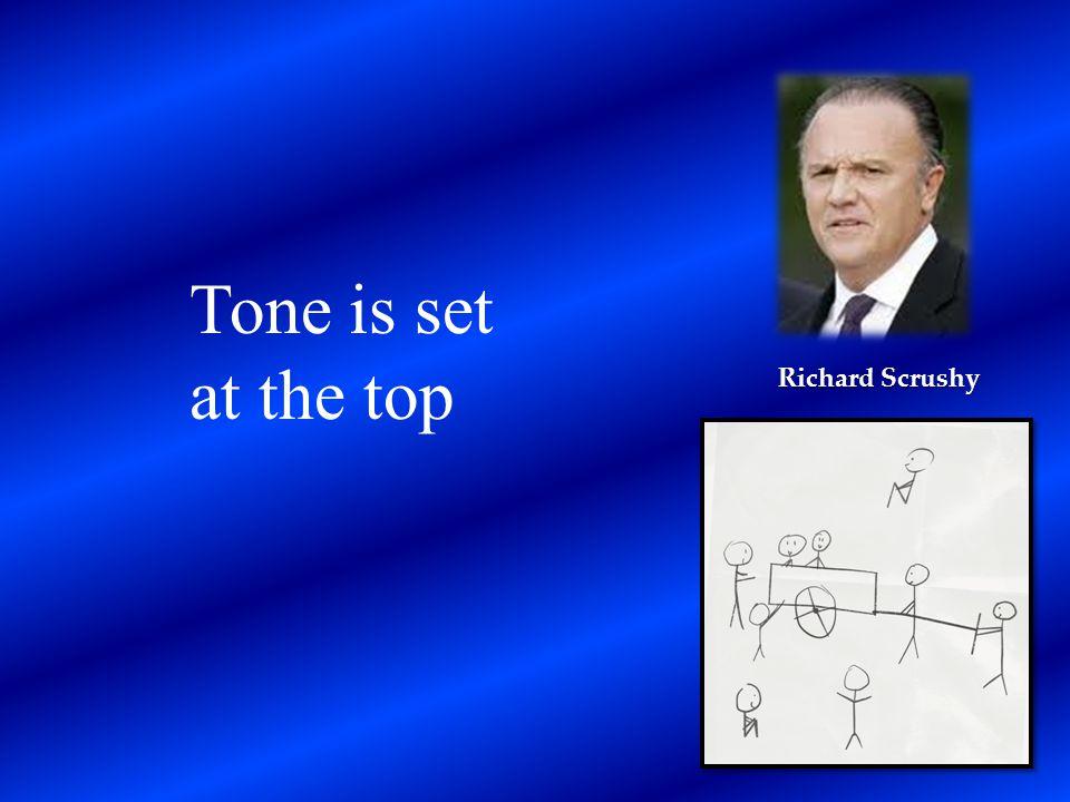Richard Scrushy Tone is set at the top