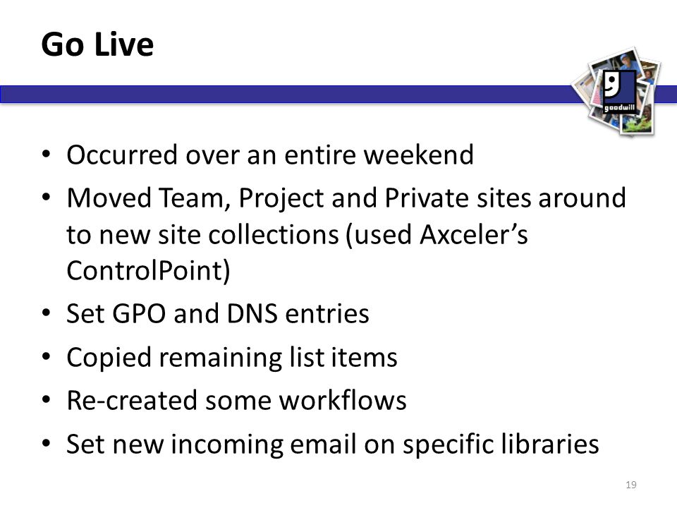 Go Live Occurred over an entire weekend Moved Team, Project and Private sites around to new site collections (used Axceler's ControlPoint) Set GPO and