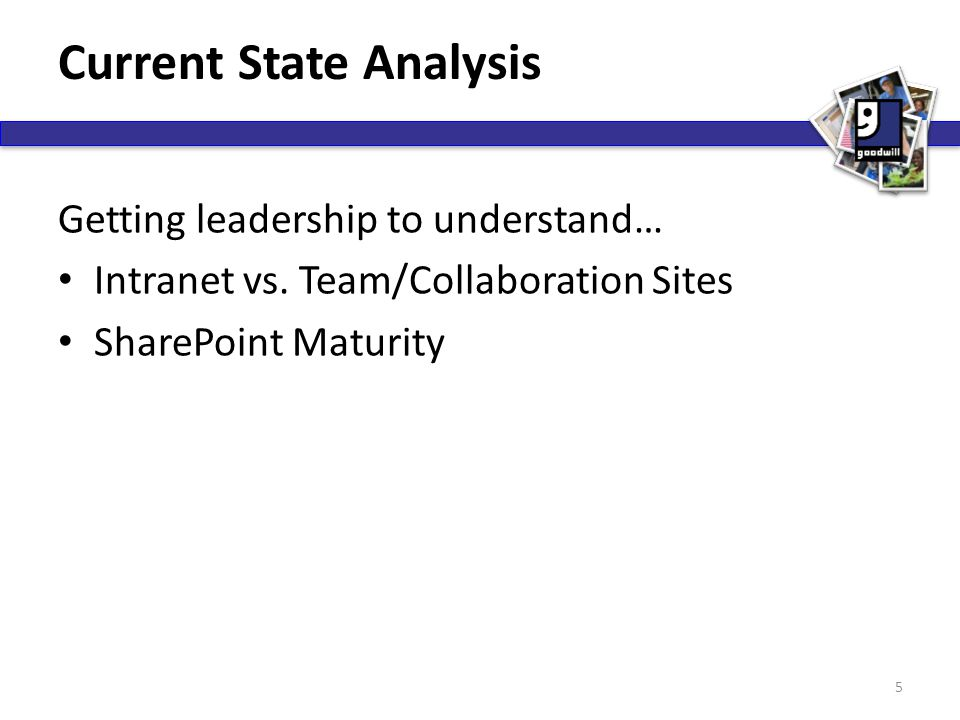 Current State Analysis Getting leadership to understand… Intranet vs. Team/Collaboration Sites SharePoint Maturity 5