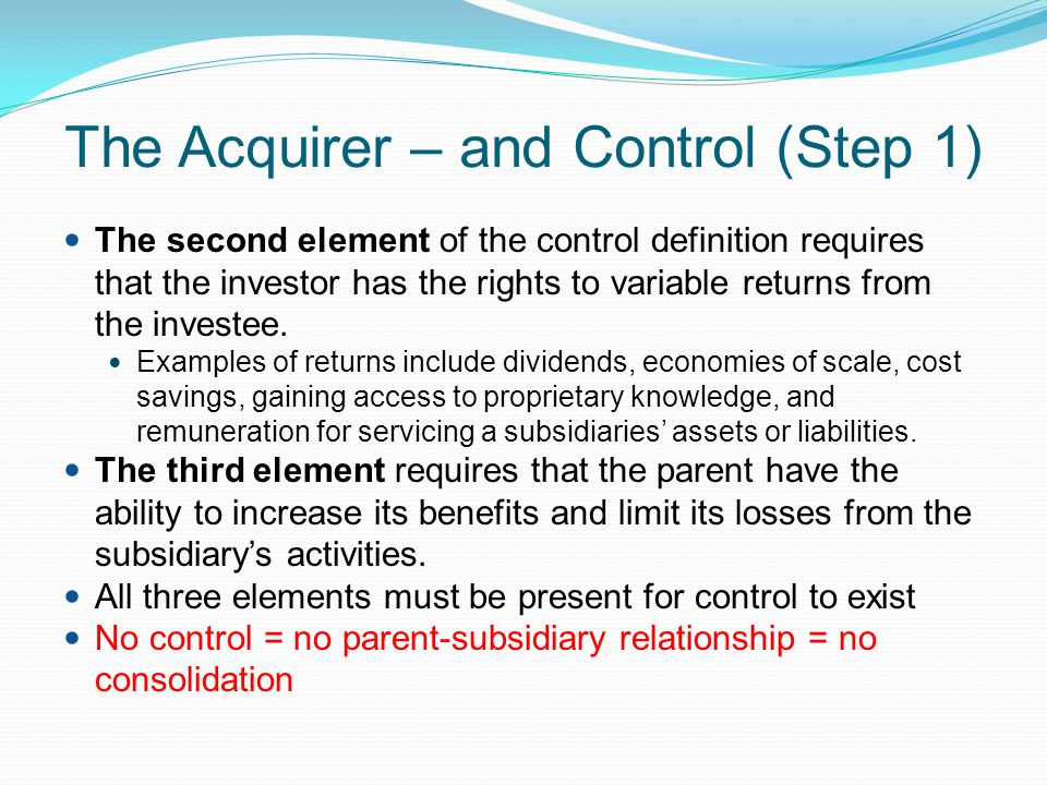 Determining the acquisition date (Step 2) Acquisition date is the date that the acquirer obtains control of the acquiree (NZ IFRS 3 para 8) Determining the correct acquisition date is important as the following are affected by the choice of date: The fair values of the net assets acquired Consideration given, where the consideration takes a non-cash form Measurement of the non-controlling interest