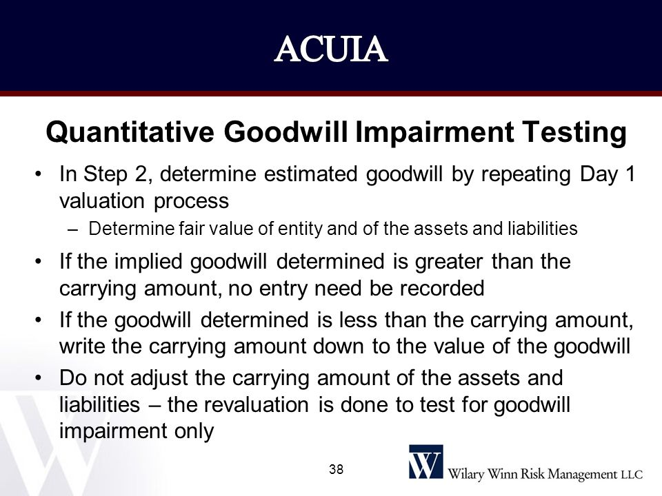 Quantitative Goodwill Impairment Testing In Step 2, determine estimated goodwill by repeating Day 1 valuation process –Determine fair value of entity