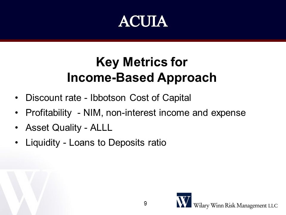 Key Metrics for Income-Based Approach Discount rate - Ibbotson Cost of Capital Profitability - NIM, non-interest income and expense Asset Quality - AL