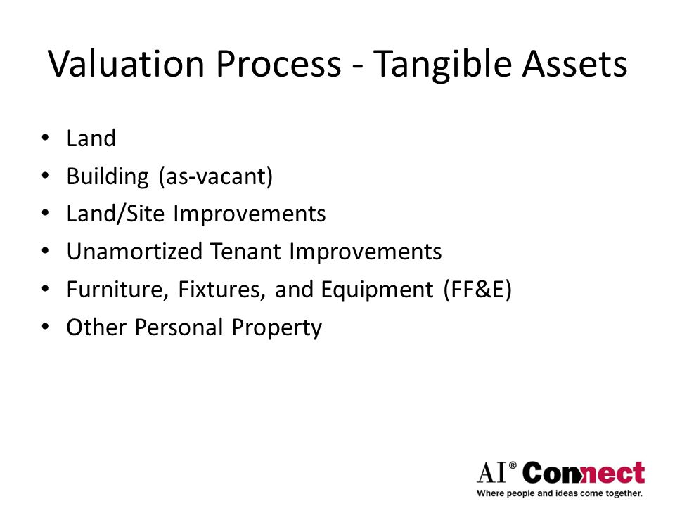 Valuation Process - Tangible Assets Land Building (as-vacant) Land/Site Improvements Unamortized Tenant Improvements Furniture, Fixtures, and Equipmen