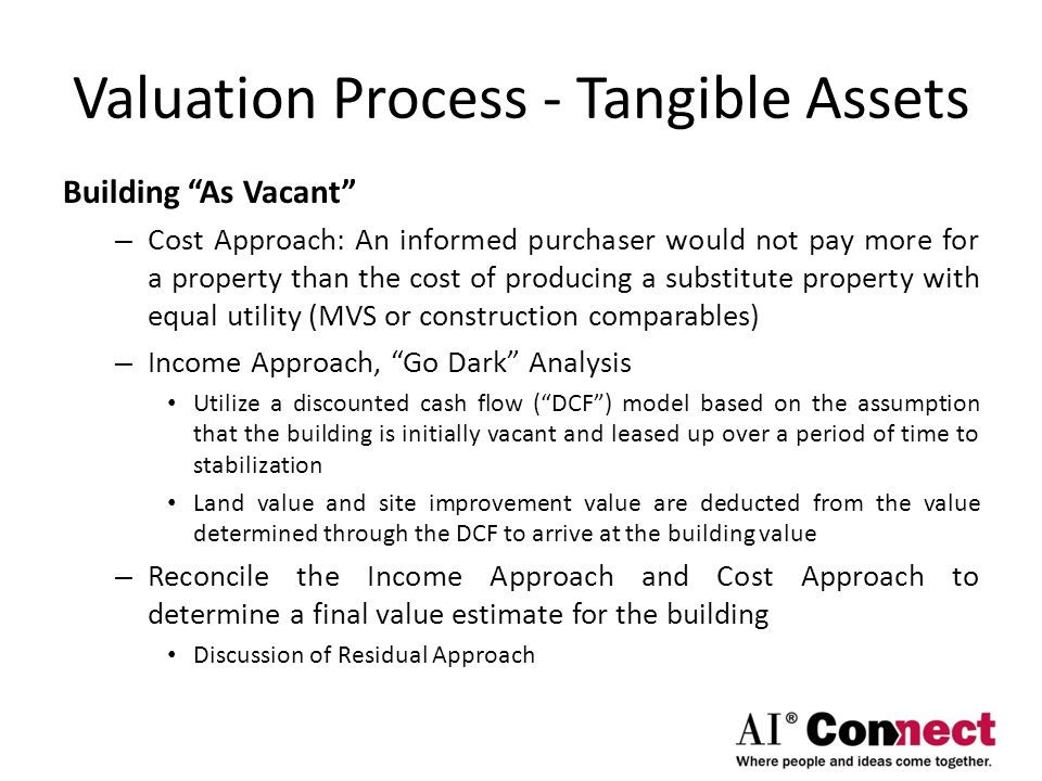 "Valuation Process - Tangible Assets Building ""As Vacant"" – Cost Approach: An informed purchaser would not pay more for a property than the cost of pro"