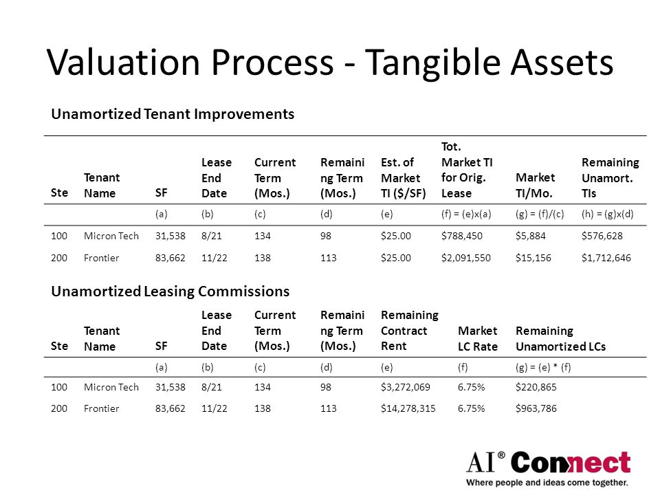 Valuation Process - Tangible Assets Unamortized Tenant Improvements Ste Tenant NameSF Lease End Date Current Term (Mos.) Remaini ng Term (Mos.) Est. o