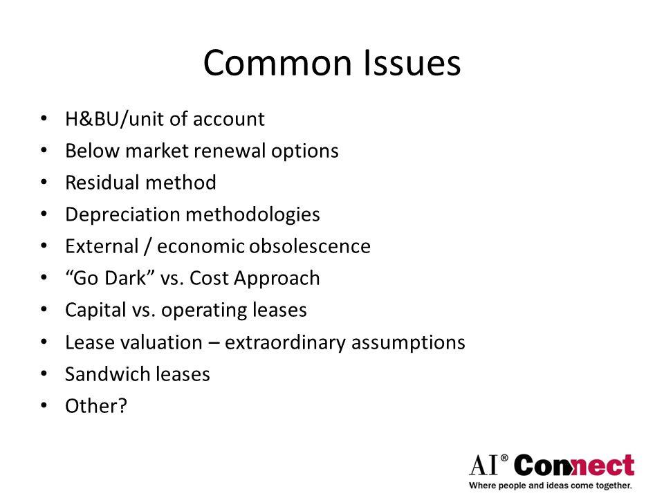 Common Issues H&BU/unit of account Below market renewal options Residual method Depreciation methodologies External / economic obsolescence Go Dark vs.