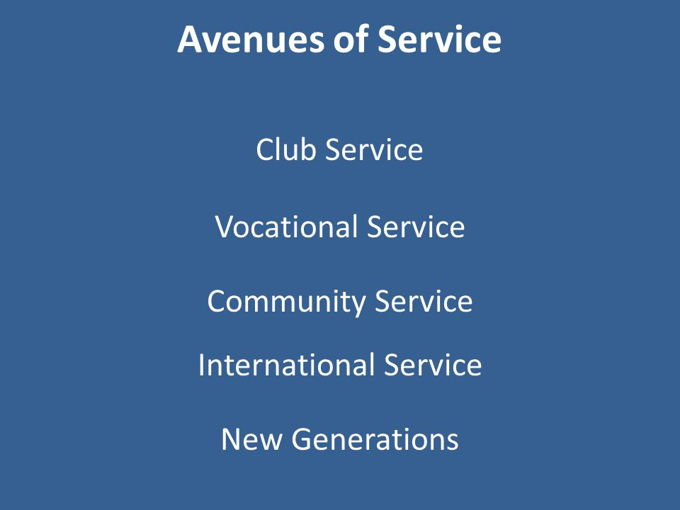 Avenues of Service Club Service Community Service International Service New Generations Vocational Service