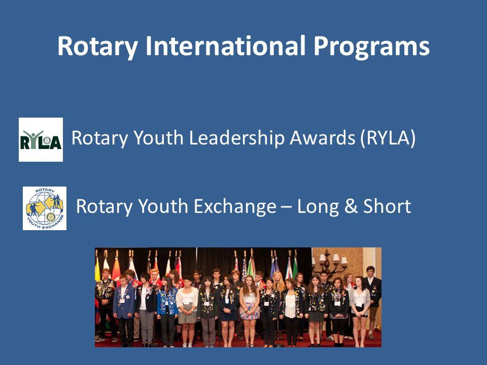 Rotary International Programs Rotary Youth Leadership Awards (RYLA) Rotary Youth Exchange – Long & Short