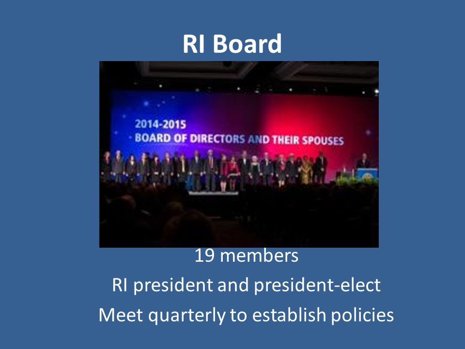 RI Board 19 members RI president and president-elect Meet quarterly to establish policies