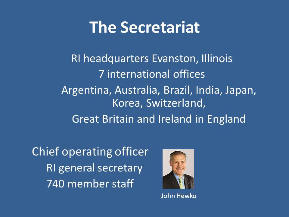 The Secretariat RI headquarters Evanston, Illinois 7 international offices Argentina, Australia, Brazil, India, Japan, Korea, Switzerland, Great Brita