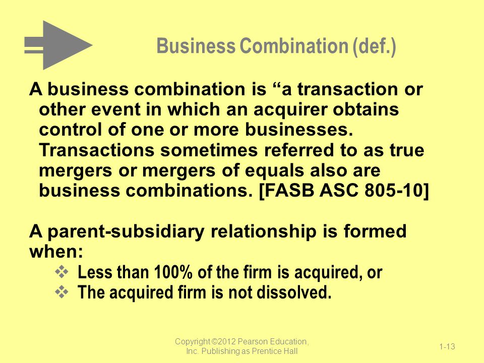 """Business Combination (def.) A business combination is """"a transaction or other event in which an acquirer obtains control of one or more businesses. Tr"""