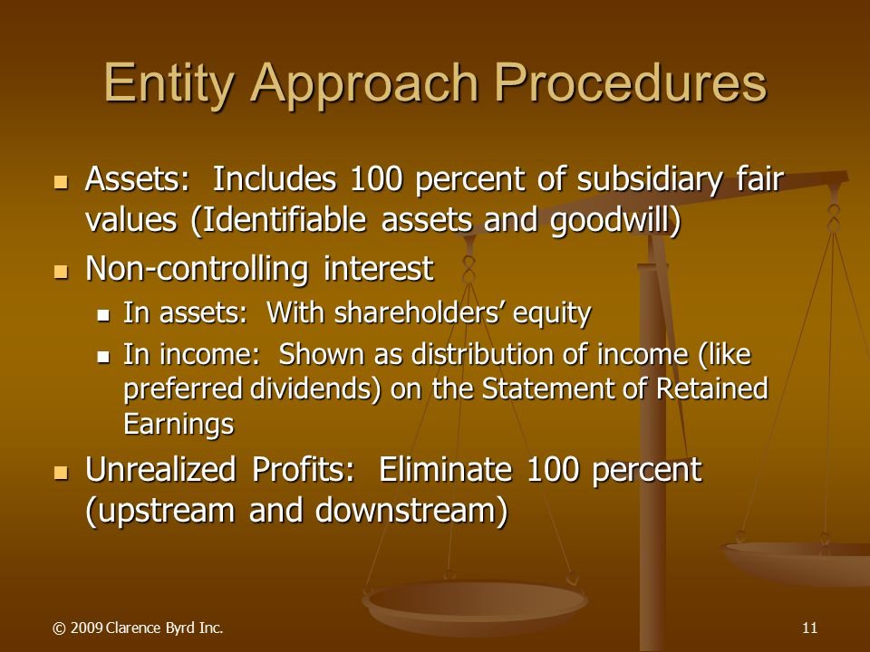 © 2009 Clarence Byrd Inc.10 Conceptual Alternatives In Consolidation Entity Approach Entity Approach The Non-Controlling Interest is an equity interest in the consolidated entity.