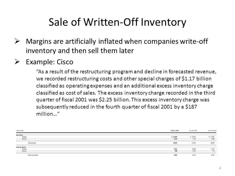 Sale of Written-Off Inventory  Margins are artificially inflated when companies write-off inventory and then sell them later  Example: Cisco As a result of the restructuring program and decline in forecasted revenue, we recorded restructuring costs and other special charges of $1.17 billion classified as operating expenses and an additional excess inventory charge classified as cost of sales.