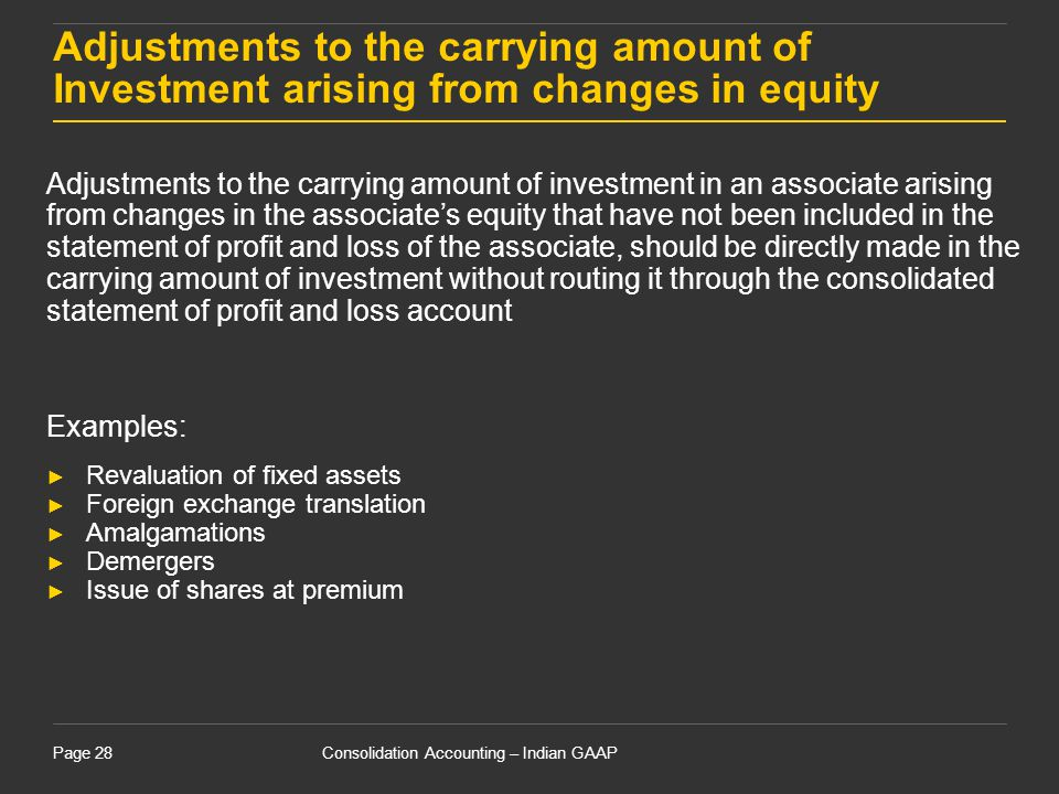 Consolidation Accounting – Indian GAAPPage 28 Adjustments to the carrying amount of Investment arising from changes in equity Adjustments to the carry