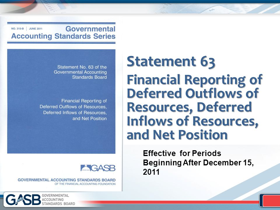 Statement 63 Financial Reporting of Deferred Outflows of Resources, Deferred Inflows of Resources, and Net Position Effective for Periods Beginning After December 15, 2011
