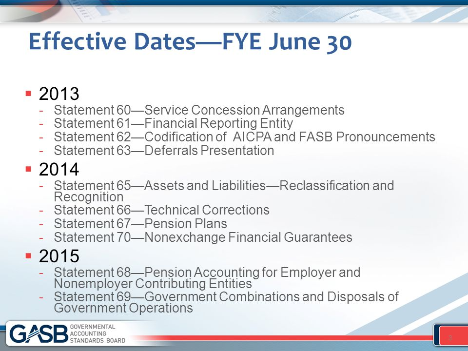 Effective Dates—FYE June 30  2013 -Statement 60—Service Concession Arrangements -Statement 61—Financial Reporting Entity -Statement 62—Codification of AICPA and FASB Pronouncements -Statement 63—Deferrals Presentation  2014 -Statement 65—Assets and Liabilities—Reclassification and Recognition -Statement 66—Technical Corrections -Statement 67—Pension Plans -Statement 70—Nonexchange Financial Guarantees  2015 -Statement 68—Pension Accounting for Employer and Nonemployer Contributing Entities -Statement 69—Government Combinations and Disposals of Government Operations 3
