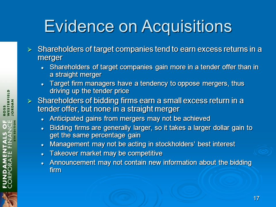17 Evidence on Acquisitions  Shareholders of target companies tend to earn excess returns in a merger Shareholders of target companies gain more in a tender offer than in a straight merger Shareholders of target companies gain more in a tender offer than in a straight merger Target firm managers have a tendency to oppose mergers, thus driving up the tender price Target firm managers have a tendency to oppose mergers, thus driving up the tender price  Shareholders of bidding firms earn a small excess return in a tender offer, but none in a straight merger Anticipated gains from mergers may not be achieved Anticipated gains from mergers may not be achieved Bidding firms are generally larger, so it takes a larger dollar gain to get the same percentage gain Bidding firms are generally larger, so it takes a larger dollar gain to get the same percentage gain Management may not be acting in stockholders' best interest Management may not be acting in stockholders' best interest Takeover market may be competitive Takeover market may be competitive Announcement may not contain new information about the bidding firm Announcement may not contain new information about the bidding firm