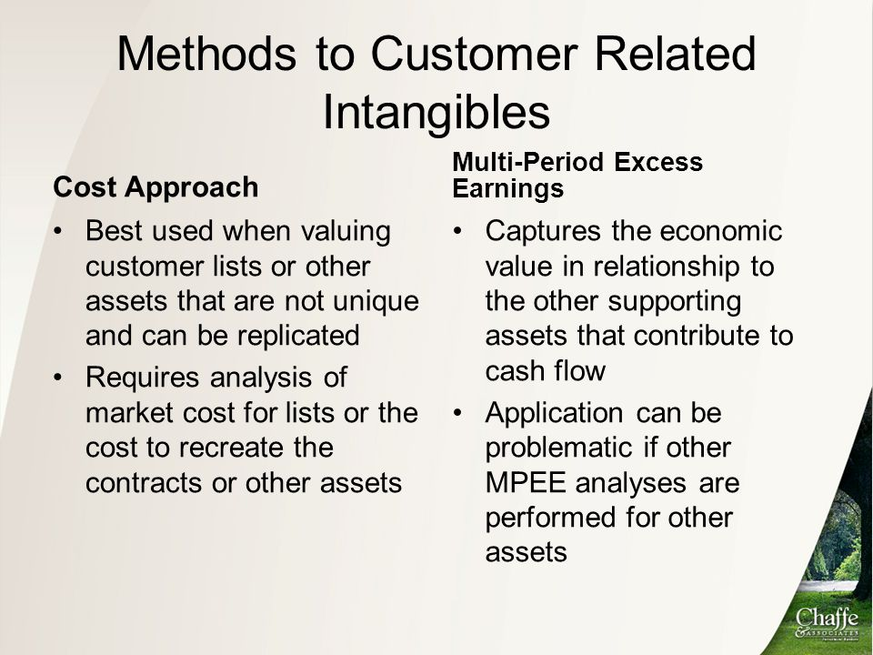 Methods to Customer Related Intangibles Cost Approach Best used when valuing customer lists or other assets that are not unique and can be replicated