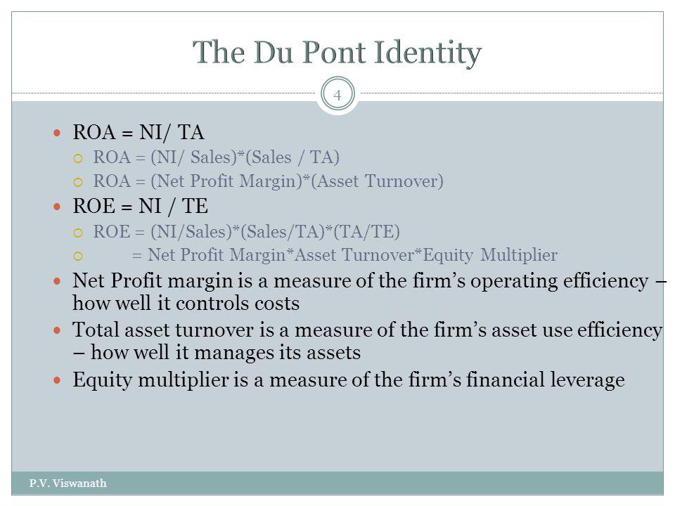 P.V. Viswanath 4 ROA = NI/ TA  ROA = (NI/ Sales)*(Sales / TA)  ROA = (Net Profit Margin)*(Asset Turnover) ROE = NI / TE  ROE = (NI/Sales)*(Sales/TA