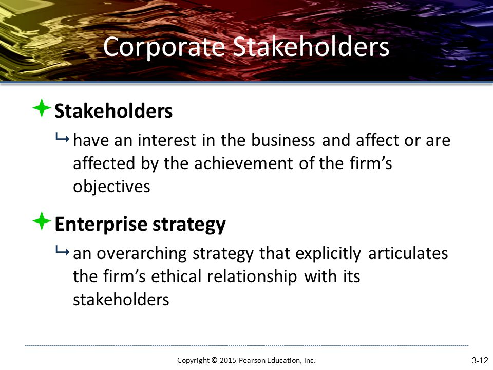 Corporate Stakeholders  Stakeholders  have an interest in the business and affect or are affected by the achievement of the firm's objectives  Enterprise strategy  an overarching strategy that explicitly articulates the firm's ethical relationship with its stakeholders Copyright © 2015 Pearson Education, Inc.
