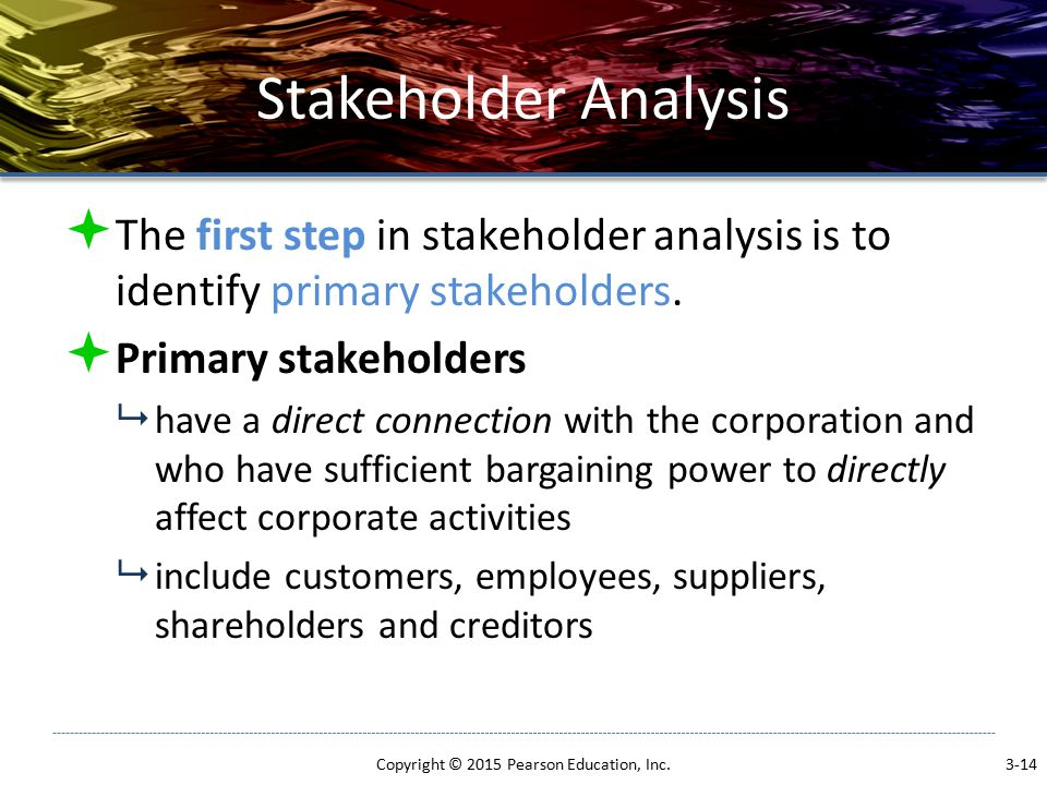 Stakeholder Analysis  The first step in stakeholder analysis is to identify primary stakeholders.