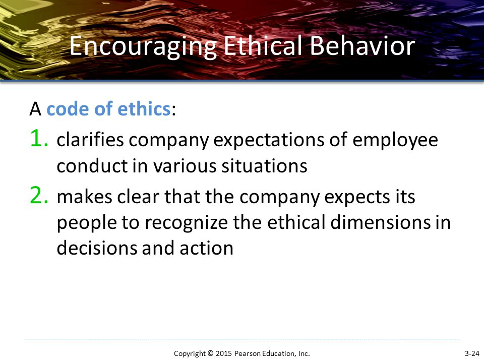 Encouraging Ethical Behavior A code of ethics: 1.