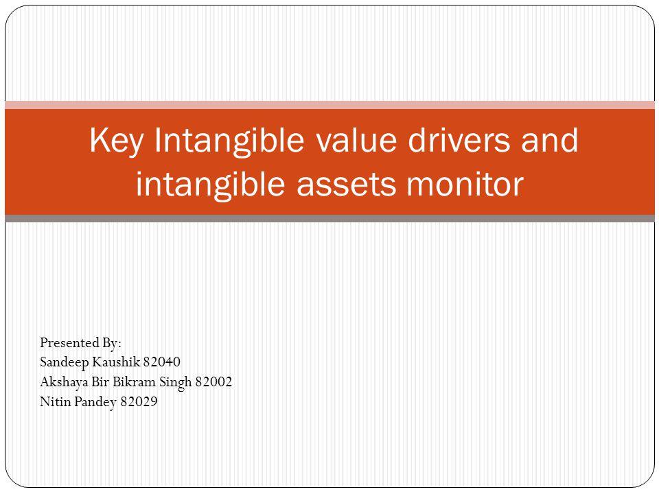 Key Intangible value drivers and intangible assets monitor Presented By: Sandeep Kaushik 82040 Akshaya Bir Bikram Singh 82002 Nitin Pandey 82029