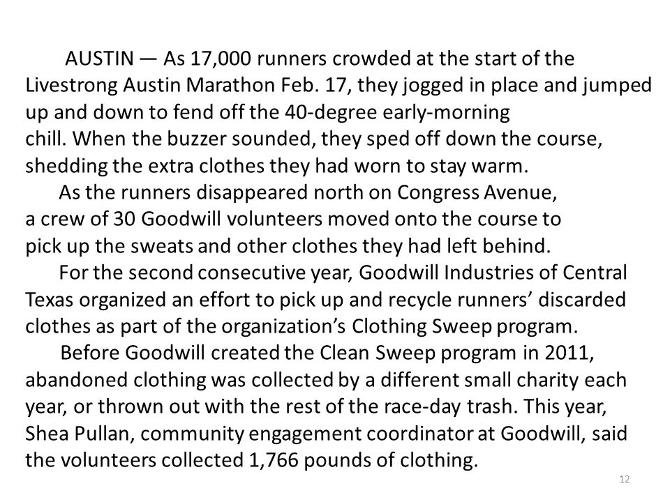 12 AUSTIN — As 17,000 runners crowded at the start of the Livestrong Austin Marathon Feb.