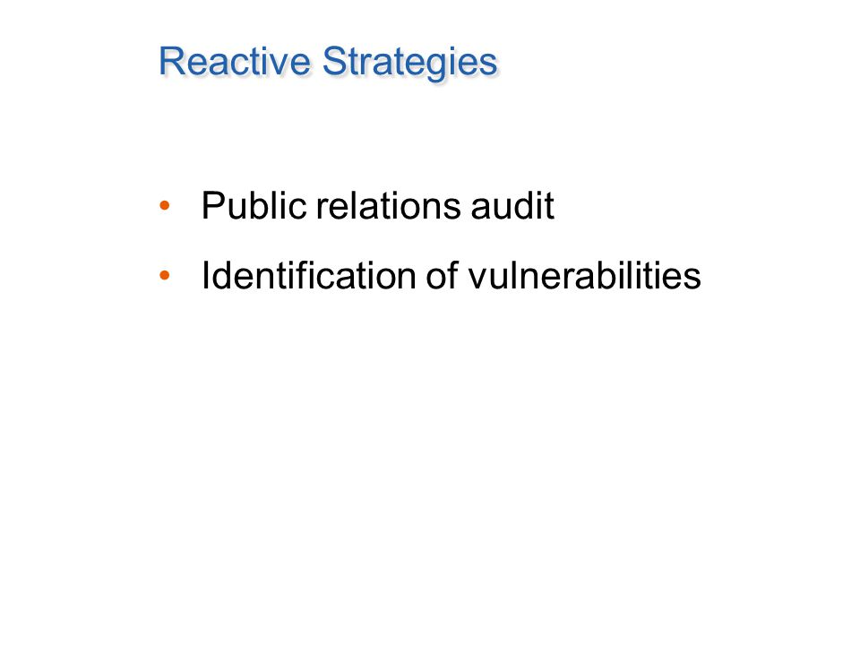 Reactive Strategies Public relations audit Identification of vulnerabilities